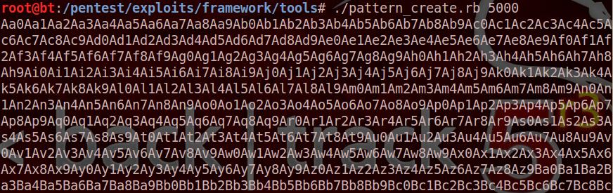Screenshot of msf pattern offset