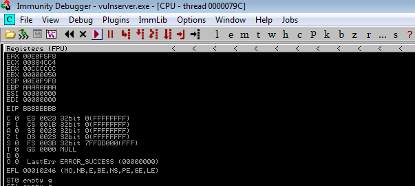 EIP overwrite with 'BBBBBBBB'