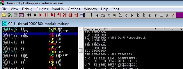 JMP ESP found in Application DLL