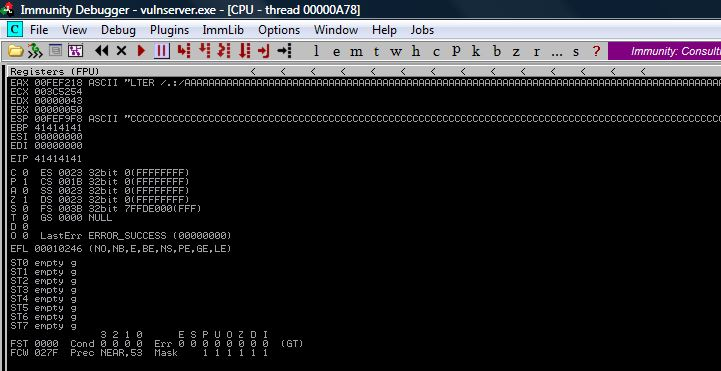 EIP Overwrite from Buffer Overflow